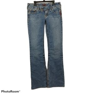 Vintage Y2K Silver Chyna Ultra Low Rise Flare Jean